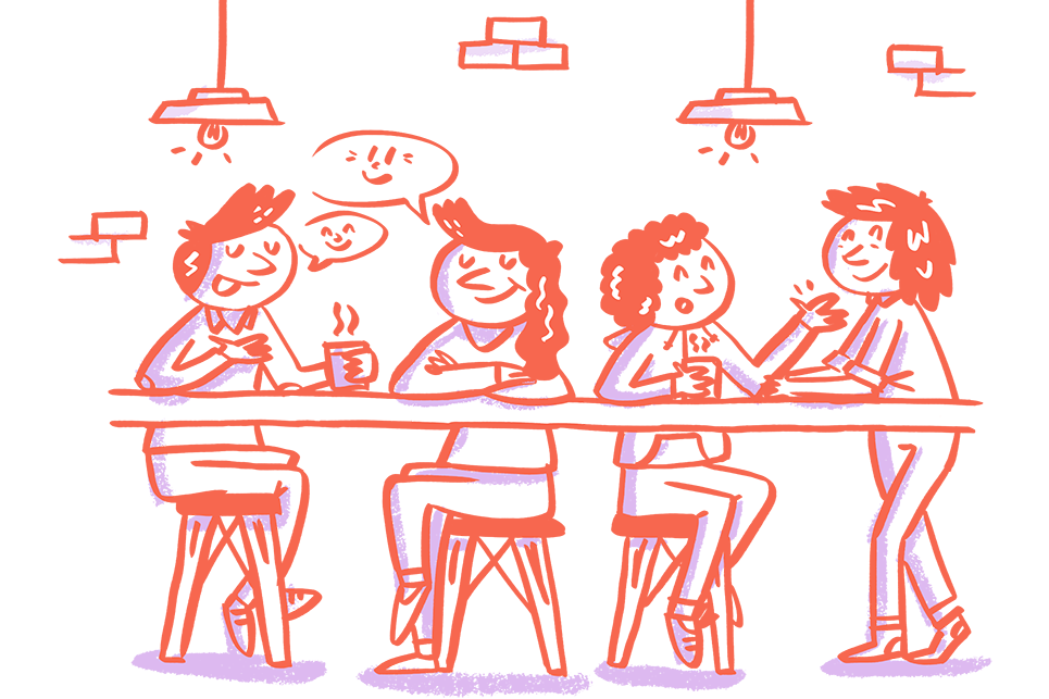 Illustration of people sat chatting in a coffee shop